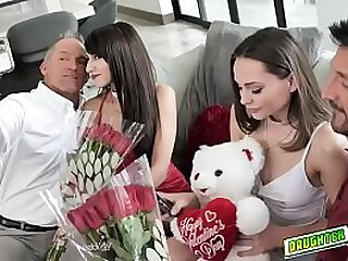 Teens Aften Opal and Hime Marie gets their mouths plug fro cocks as their valentines date