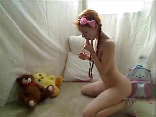 Hot Teen Redhead Dolly Little Masturbating in Footie Pajamas
