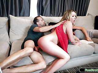 Blonde stepdaughter riding horsey on stepdads big hard dick