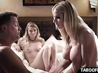 Young step daughter peeps on parents then joins them for threesome