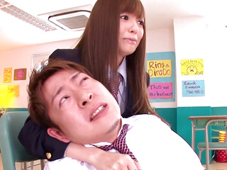 Japanese schoolgirl gives man rusty trombone