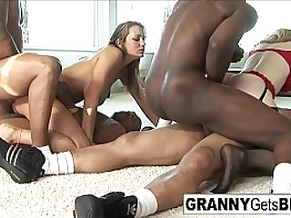 Hot granny gets both holes filled